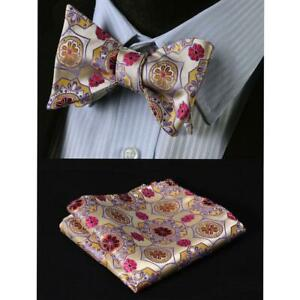 Red Gold & Yellow Floral Mens Silk Self tie Bow Tie with Pocket Squares Set