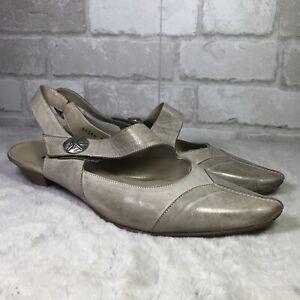 (AL) Fidji Pointed Toe Taupe Leather Slingback Mary Jane Shoes SZ 43 US 12