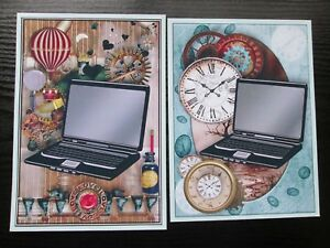 2 x Large  Computer/Laptop/Time/Clock Hand Made Card making Toppers Men/Boys