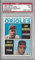 1964 Topps baseball card #201 Baltimore Orioles Rookies Wally Bunker PSA 7 NM