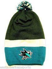 San Jose Sharks NHL Reebok Extra Long Hair Pom Ball Knit Hat Cap Winter Beanie