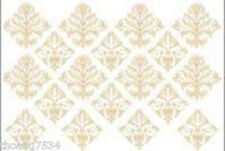 Cream Beige French Damask Rub on Paint Transfer Mural Wall Border