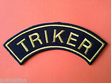 MOTORCYCLE RIDER BIKER SEW/IRON ON PATCH:- TRIKER YELLOW & BLACK SHOULDER STRIPE