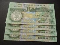 GUERNSEY SET OF 4 UNCIRCULATED MINT £1 NOTES WITH CONSECUTIVE SERIAL NUMBERS.