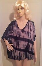 Plus Size 0X blue NWT SHIBORI TIE-DYE print SHEER BACK blouse by ROCK & REPUBLIC