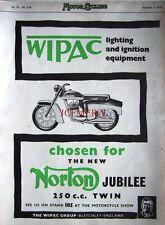 1958 NORTON 'Jubilee 250cc Twin' Motor Cycle AD - Original 'Wipac' Print ADVERT
