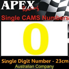 CAMS Window Number 0 Sticker - Single Number 23cm - Race Rally Drift - Yellow