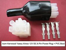 ICOM KENWOOD YAESU HF 6-PIN 12v DC POWER PLUG + CORRECT SIZE CRIMPS + PVC BOOT