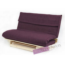 Plum Double 2 Seater Fabric Complete Futon Wood Base & Fold Up Mattress Sofa Bed