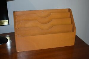 Vintage MID CENTURY Wooden Desk Top Paper Organiser