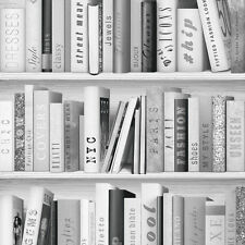 Wallpaper Muriva - Fashion Library Bookshelf - Library Books - Silver - 139502