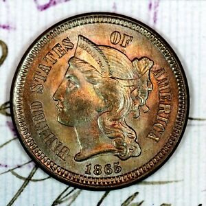 * 1865 * CHOICE to GEM BU THREE-CENT NICKEL * FROM ORIGINAL COLLECTION *