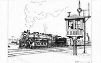 Eastbound Freight Train Leaving Garrett Yards Indiana Sketch Postcard A01