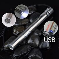 Stainless Steel Pocket Mini USB Rechargeable LED Light Pen Torch Flashlight #ur