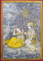 Hand Painted Indian Krishna Radha Gold Miniature Painting Art Work Fine Home Art