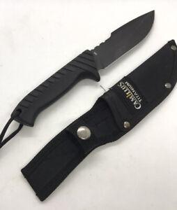 Camillus Titanium 440 Knife with Nylon Belt Loop Sheath Black on Black