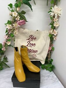 Mustard Yellow Faux Leather Square Toe Block Heel Boots (Shein) New With Box