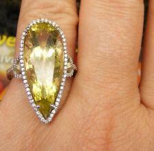 14k White Gold Huge Pear Lime Teardrop Quartz Diamond Halo Cocktail Ring SZ 6.5