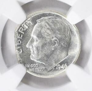 1946 P NGC AU53 Ragged Clip Planchet Error Roosevelt Silver Dime Clipped Beauty