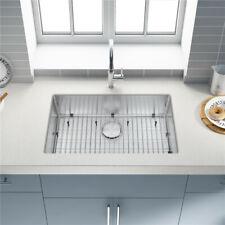 Kitchen Sink Single Bowl Top Mount Basin w/Strainer 30x18x9'' Stainless Steel304