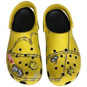 Rare Post Malone Yellow Crocs Dimitri X Barb Wire Mens 10 Women 12 - USED