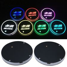 2Pcs Led Car Cup Holders Switchable 7 Color Pad Mat Auto Atmosphere Lights