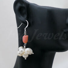 ORECCHINI argento 925 tulipano corallo rosa e perle EARRINGS pink coral pearls