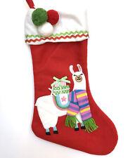 Llama Christmas Stocking Alpaca Scarf Red Green Pom Pom R5