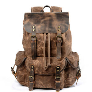 Waxed Canvas Leather Backpack Travel Rucksack Camping Laptop Hiking School Bag