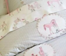 Pottery Barn Kids LAURA Twin Duvet Cover~Pink & Gray Equestrian Horse Print