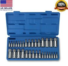 "Master Hex Bit Set | 34pc SAE & Metric Socket Set Standard Allen 1/4"" 3/8"" 1/2"""