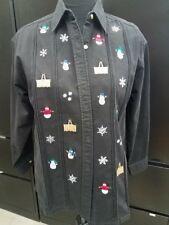 Longaberger Baskets Black Button Up Down Shirt Christmas Snowman Snowflakes Sz M