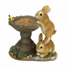 Bunny Garden Statue Bird Feeder Lawn Figurine Rabbit Ornament Patio Seeds Yard