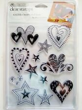 Scribbles Hearts & Stars Clear Acrylic Stamp Set Autumn Leaves Stampology AL2510