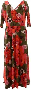 Curations Surplice Knit Maxi Dress OLIVE FLORAL XL Avg # 714-036
