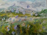Harebells, Penhill, Yorkshire Dales Wensleydale.CANVAS.Impressionism.Oil.signed.