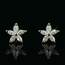 18k White Gold GF Diamond Simulant Star Petal Men Women Unisex Stud Earrings