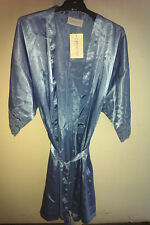 DIAMOND CUT JACARANDA BLUE LACE SHT SATIN FEL SZ M WRAP BRUNCHCOAT D GOWN BRIDAL
