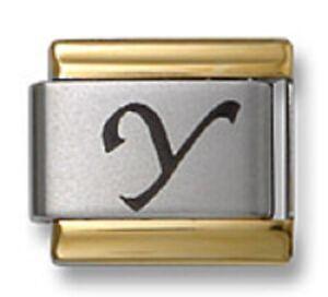 Italian Charm Bracelet Link Laser Initial Letter Y Gold Trim Stainless Steel 9mm