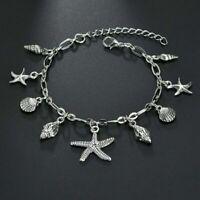 Silver Plated Anklet Bracelet Barefoot Pendant Beach Rune Starfish Ankle Sandal