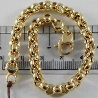 18K YELLOW GOLD BRACELET 7.9 IN, BIG ROUND CIRCLE ROLO LINK 5.5 MM MADE IN ITALY
