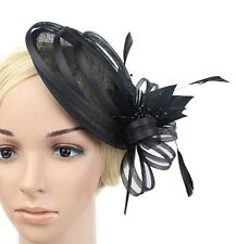 BLACK SINAMAY FASCINATOR WITH MATCHING FEATHERS/LOOPS& BEADS - WEDDINGS/RACING