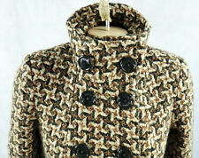 M60 Miss sixty small wool brown pinwheel woven houndstooth coat pea heavy jacket