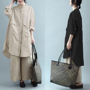 ZANZEA Women Button Up Top Long Sleeve Tee Plain Plus Size Shirt Tunic Blouse