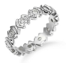 Solid 14K White Gold Bezel Real Natural Diamond Eternity Band Fashion Jewelry