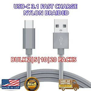 USB-C Bulk USB C Cable 3ft Fast Charger USBC Braided Fast USB 3.1 LOT 5 10 20 50