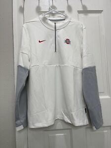 NWT Men's Nike White Ohio State Buckeyes Coaches 1/4 Zip Pullover Jacket Medium