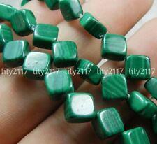 "Natural 8mm Green Malachite Rhombus Cushion Gemstone Loose Beads 15"" AAA"