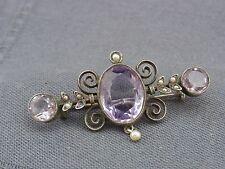 schöne alte Brosche Silber Amethyst Perlen ca. um 1860
