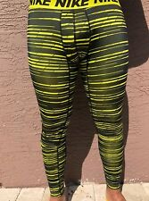 Nike Dry Running Pants/Tights DRI-FIT Black/Yellow 848062-358 Men's Size S,L,XL